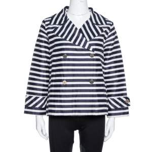 CH Carolina Herrera Navy Blue and White Striped Double Breasted Jacket M