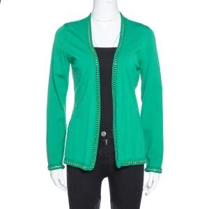 CH Carolina Herrera Green Knit Metal Detail Open Front Cardigan S