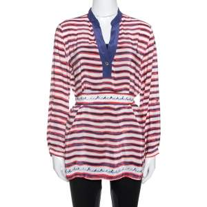 CH Carolina Herrera White Striped Ramie & Silk Belted Top M