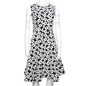 CH Carolina Herrera Monochrome Floral Jacquard Flared Dress S