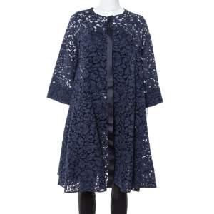 CH Carolina Herrera Navy Blue Lace Flared Coat S