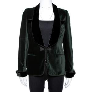 CH Carolina Herrera Green Velvet Tuxedo Blazer M