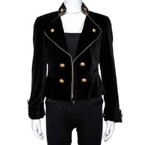CH Carolina Herrera Black Velvet Contrast Piping Detail Blazer M