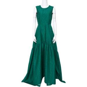 CH Carolina Herrera Green Floral Jacquard Flared Gown M