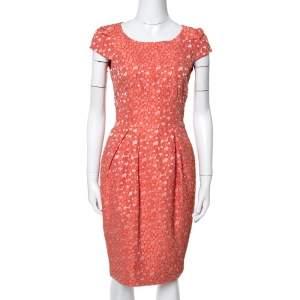 CH Carolina Herrera Orange Floral Jacquard Sheath Dress S