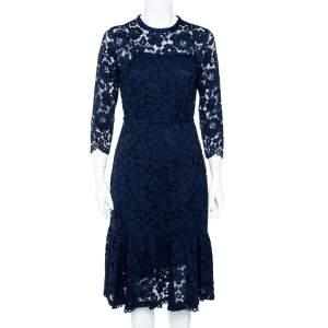 CH Carolina Herrera Navy Blue Lace Flounce Hem Midi Dress M