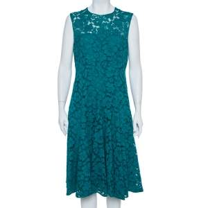 CH Carolina Herrera Green Floral Lace Fit & Flare Dress L