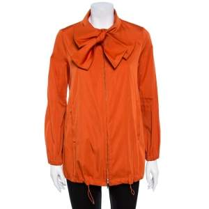 CH Carolina Herrera Orange Tie Neck Zip Up Jacket S