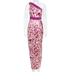 CH Carolina Herrera Floral Print Silk Satin One Shoulder Maxi Dress S