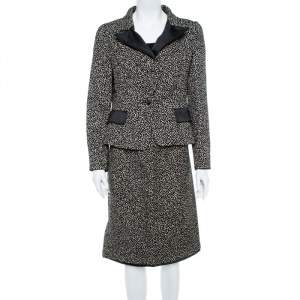 CH Carolina Herrera Monochrome Embossed Jacquard Satin Blazer & Skirt Set L