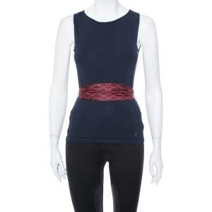 CH Carolina Herrera Navy Blue Knit Belted Sleeveless Top XS
