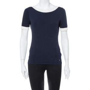 CH Carolina Herrera Navy Blue Knit Contrast Bow Detail Top S