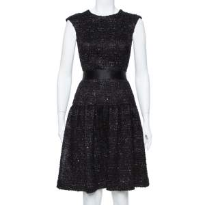 CH Carolina Herrera Black Sequin Embellished Lurex Belted Midi Dress S
