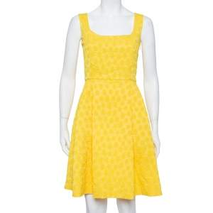 CH Carolina Herrera Yellow Embossed Jacquard Pleated Sleeveless Midi Dress M