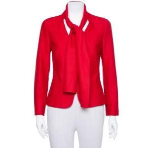 CH Carolina Herrera Red Wool Neck Scarf Detail Jacket M