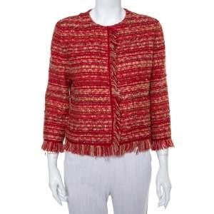 CH Carolina Herrera Red & Beige Tweed Collarless Jacket M
