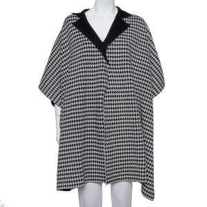 CH Carolina Herrera Monochrome Wool & Silk Houndstooth Cape Jacket M