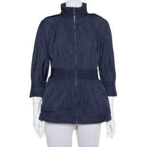 CH Carolina Herrera Navy Blue Synthetic Zip Front Peplum Jacket S