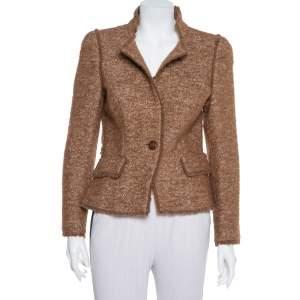 CH Carolina Herrera Brown Wool Stand Collar Button Front Jacket M