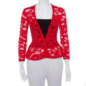 CH Carolina Herrera Red Floral Lace Jacket S