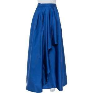 CH Carolina Herrera Royal Blue Taffeta Pleated Front Detail Asymmetric Hem Maxi Skirt S