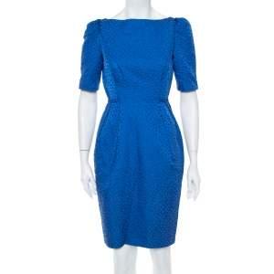 CH Carolina Herrera Blue Textured Cotton Sheath Dress S