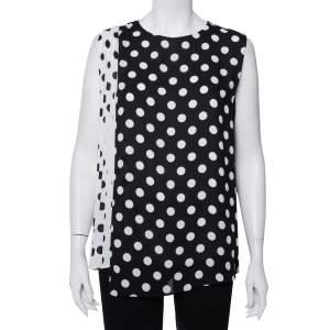 CH Carolina Herrera Monochrome Polka Dot Printed Chiffon Pleated Sleeveless Top L