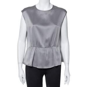CH Carolina Herrera Grey Silk Satin Ruched Sleeveless Top L