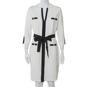 CH Carolina Herrera White Knit Contrast Trim Detail Belted Midi Dress L