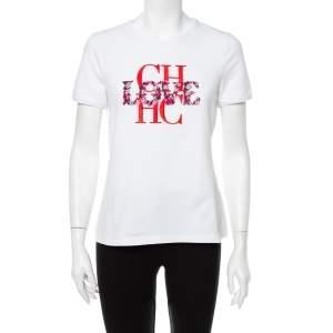توب سي إتش كارولينا هيريرا قطن أبيض بالشعار مطرز مقاس متوسط - ميديوم
