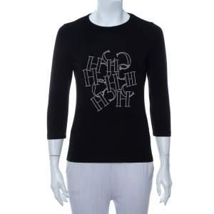CH Carolina Herrera Black Cotton Logo Embellished Quarter Sleeve T-Shirt S