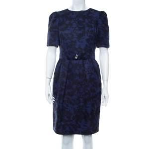 CH Carolina Herrera Purple & Black Jacquard Belted Mini Dress M
