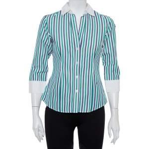 CH Carolina Herrera Multicolor Striped Cotton Button Front Shirt S
