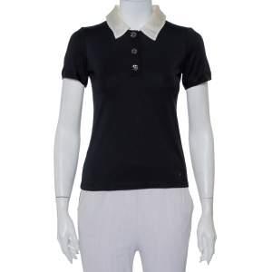 CH Carolina Herrera Black Knit Contrast Trim Detail Polo T-Shirt XS