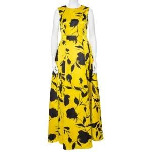 CH Carolina Herrera Yellow Blooming Floral Printed Satin Sleeveless Evening Gown M