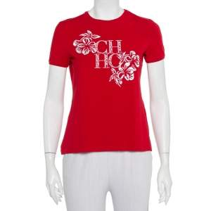 CH Carolina Herrera Red Cotton Floral Logo Embroidered T-Shirt S