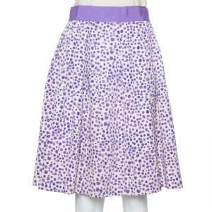 CH Carolina Herrera Beige & Purple Printed Silk & Cotton Pleated Skirt M