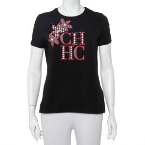 CH Carolina Herrera Black Logo Embroidered Cotton Pearl Detail Crewneck T-Shirt M