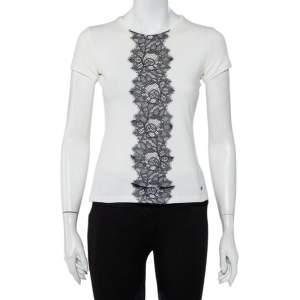 CH Carolina Herrera White Cotton Lace Trim Detail T-Shirt XS