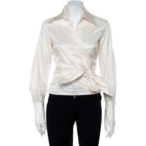 CH Carolina Herrera Cream Silk Front Tie Detail Lightweight Cropped Jacket L