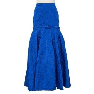 CH Carolina Herrera Royal Blue Textured Jacquard Maxi Skirt M