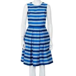 CH Carolina Herrera Blue Striped Silk Sleeveless Pleated Dress M