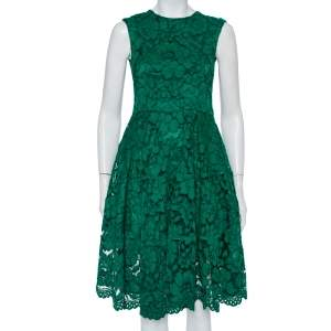 CH Carolina Herrera Green Lace Paneled Midi Dress XS