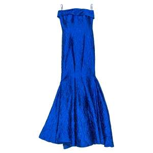 CH Carolina Herrera Royal Blue Jacquard Strapless Mermaid Gown XS