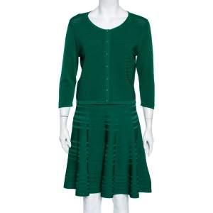 CH Carolina Herrera Green Knit Button Front Top & Skirt Set M