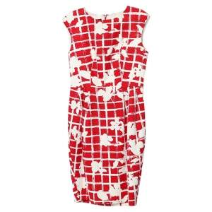 CH Carolina Herrera Red Floral Grid Printed Sheath Dress M