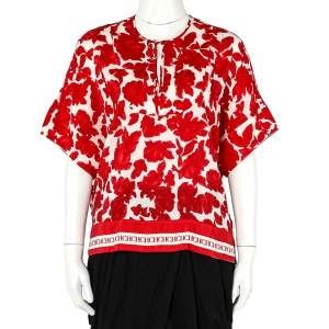 CH Carolina Herrera Red Floral Print Silk Blend Blouse S