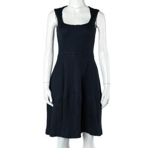 CH Carolina Herrera Navy Blue Textured Cotton Flared Dress S