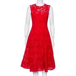 CH Carolina Herrera Red Lace Sleeveless Flared Midi Dress S