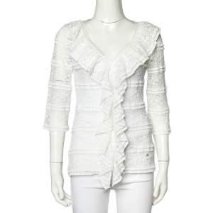 CH Carolina Herrera White Lace Ruffled V Neck Top S